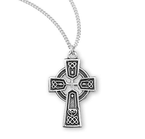 "Sterling Silver Small Irish Celtic Cross Pendant | 18"" Chain"