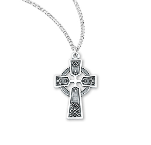 "Sterling Silver Irish Celtic Cross Pendant | 18"" Chain"