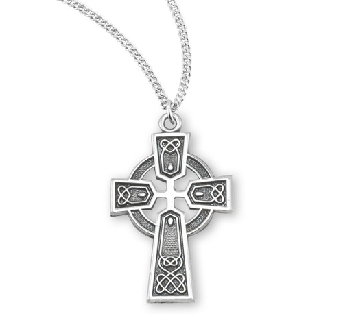 "Sterling Silver Medium Irish Celtic Cross Pendant | 18"" Chain"