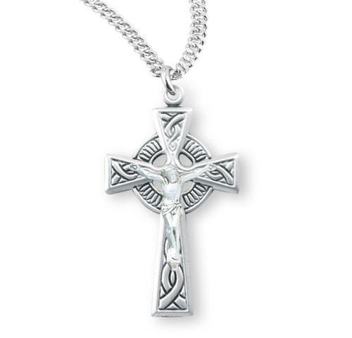 "Sterling Silver Irish Celtic Crucifix Pendant | 20"" Chain"