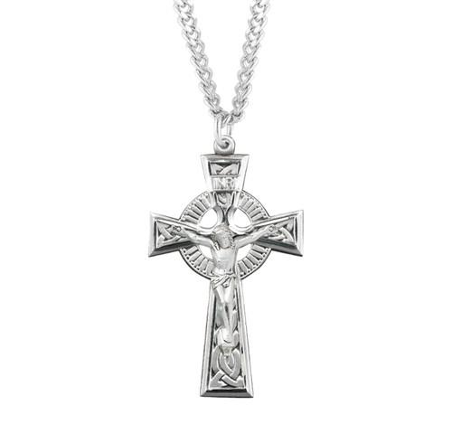 "Sterling Silver Irish Celtic Crucifix Pendant | 24"" Chain"