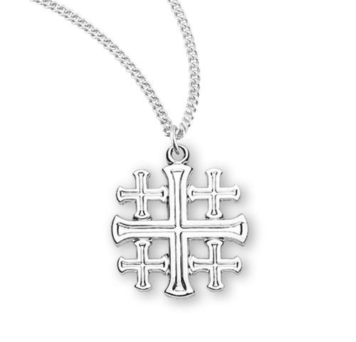 "Sterling Silver Jerusalem Cross   18"" Curb Chain"