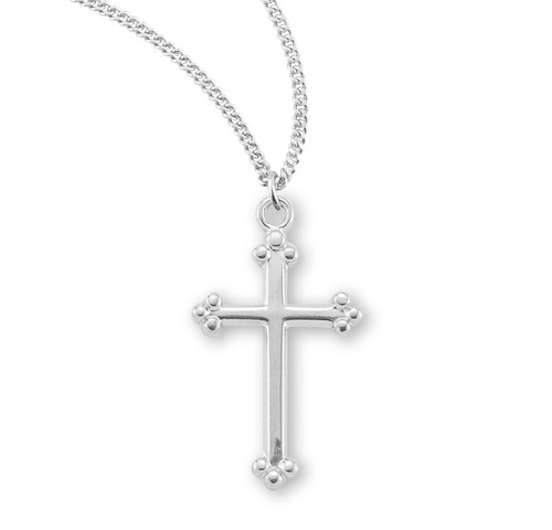 Sterling Silver Small Budded Cross