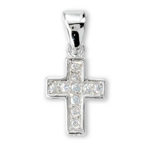 "Sterling Small Cross with Cubic Zirconia's ""CZ's"""