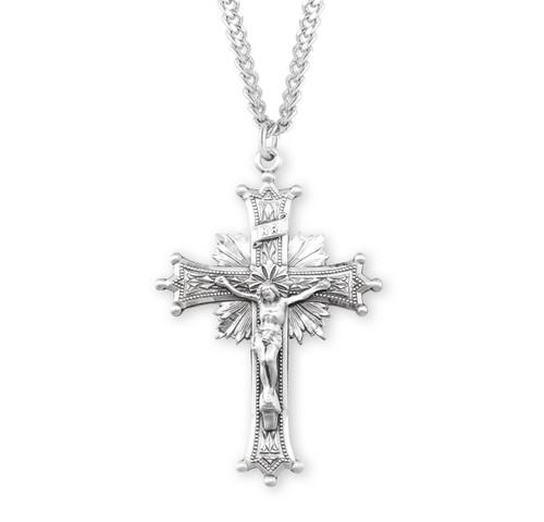 Sun Burst Sterling Silver Crucifix | 1