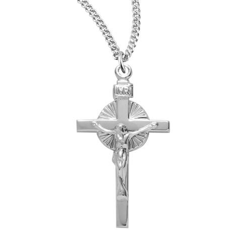 Sun Burst Sterling Silver Crucifix