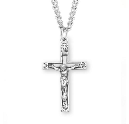"Swirl Design Sterling Silver Crucifix | 24"" Endless Curb Chain"