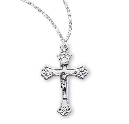 Swirled Sterling Silver Crucifix