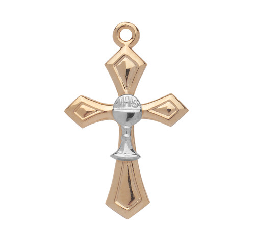 Two-tone Gold Over Sterling Silver Cross with Chalice