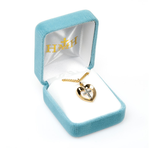 Two-tone Gold Over Sterling Silver Heart with Cross