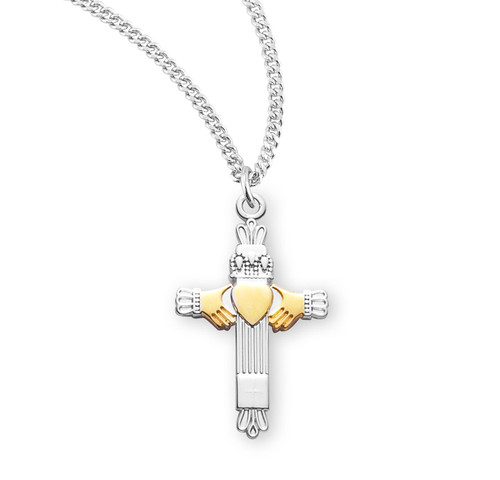 Two-Tone Sterling Silver Claddagh Cross
