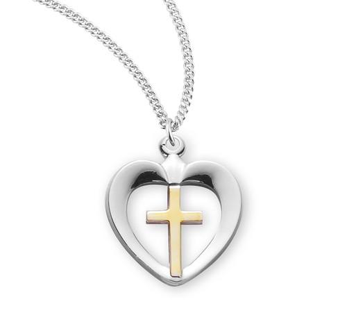 Two-Tone Sterling Silver Cross in Heart Pendant