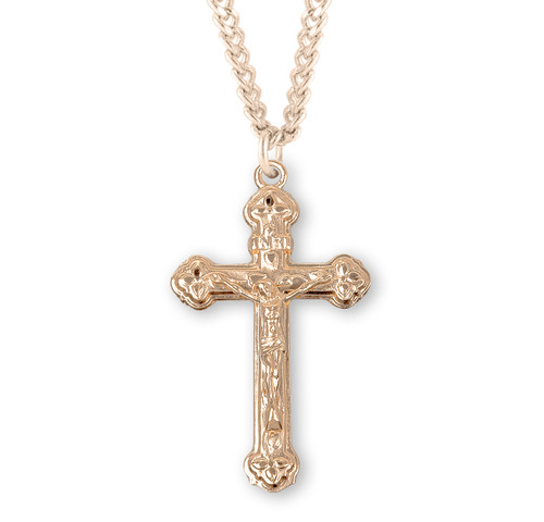 Vine and Leaf Pattern Gold Over Sterling Silver Crucifix