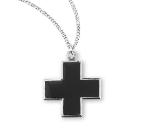 Wide Sterling Silver Black Enameled Cross