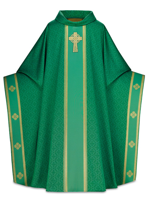 #3858 Celtic Hand Embroidered Monastic Chasuble | Roll Collar | 100% Man Made Fibers| All Colors