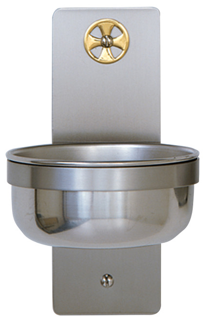 "7"" Holy Water Font with Brass Cross 