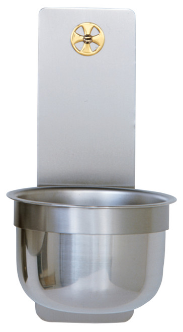 "9"" Holy Water Font with Brass Cross 