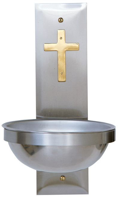 "11"" Holy Water Font with Brass Cross 