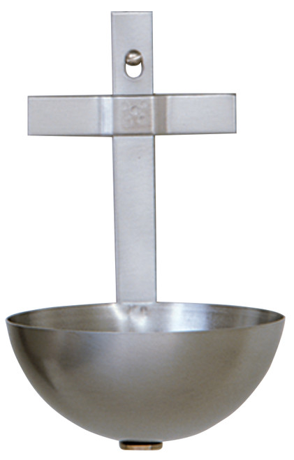 """6 1/2"""" Solid Brass Cross Holy Water Font 