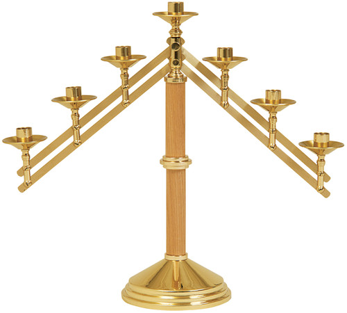 K752 Altar Candelabra | 7 Light | Solid Brass/Oak Wood