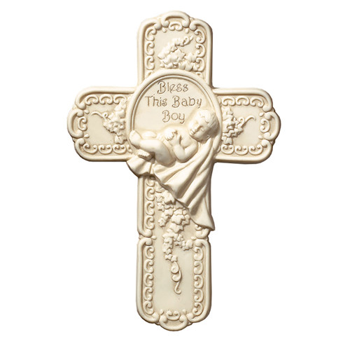 """7.5"""" Bless This Baby Boy Wall Cross 
