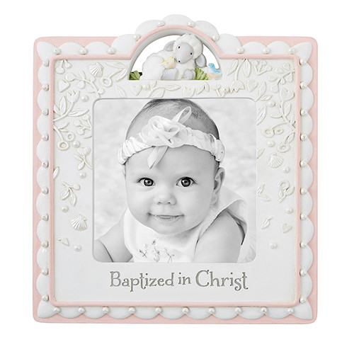 "Baptized In Christ Picture Frame | Girl | Holds 4"" x 4"" Photo"