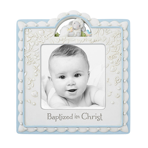 "Baptized In Christ Picture Frame | Boy | Holds 4"" x 4"" Photo"