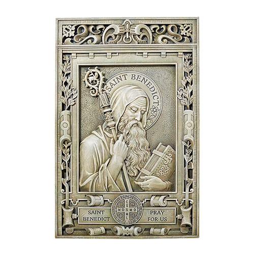 "15"" Saint Benedict Garden Plaque   Resin/Stone"