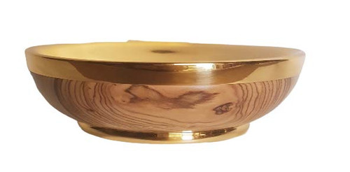 """5 7/8"""" Olive Wood Open Ciboria   Brass Gold Plated   Handmade In Italy"""