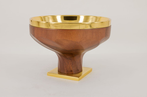 Walnut Wood Torsion Open Ciboria | Holds 140 Hosts | Brass Gold Plated | Handmade In Italy