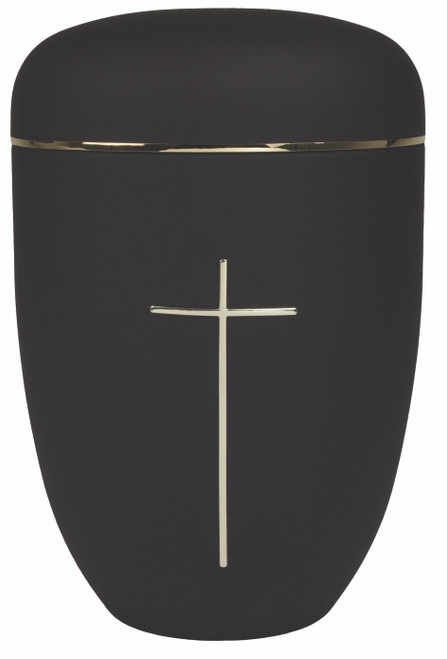 """10 1/2"""" Black with Cross Cremation Urn 