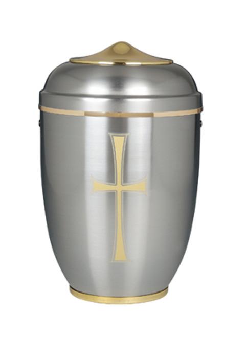 "11"" Silver with Cross Memorial Urn | Aluminum"