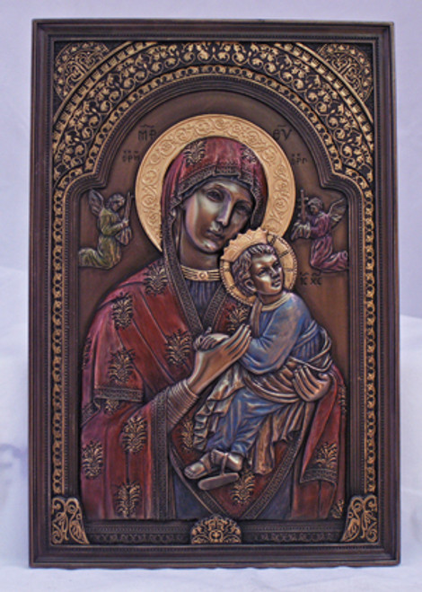 """6"""" x 9"""" Our Lady of Perpetual Help Plaque   Hand-Painted Cold-Cast Bronze"""