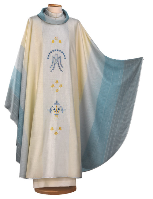 #2005 Italian Embroidered Marian Symbol Chasuble | Roll Collar | Wool/Lurex