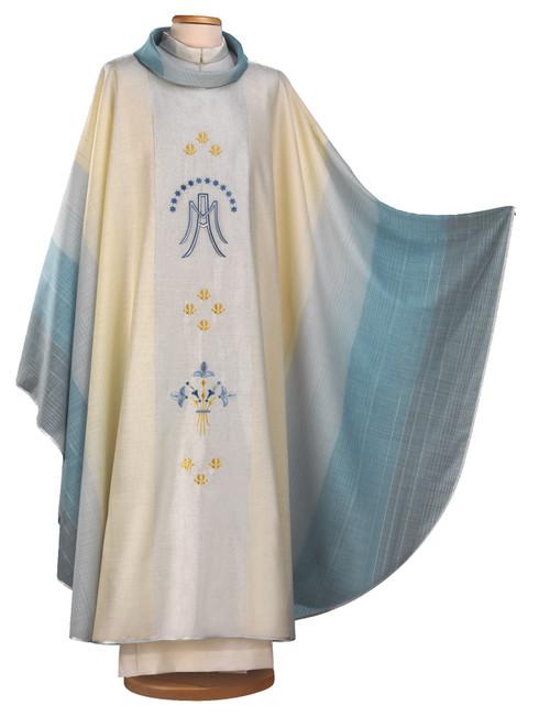 #2005 Italian Embroidered Marian Symbol Chasuble | Roll Collar | Wool/Lurex
