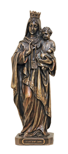 """10"""" Our Lady of Mount Carmel Statue   Cold Cast Bronze"""
