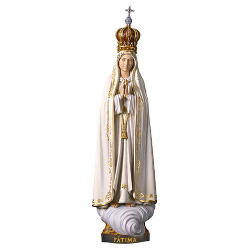 Our Lady of Fatima Capelinha with Crown Statue | Hand Carved in Italy | Multiple Sizes