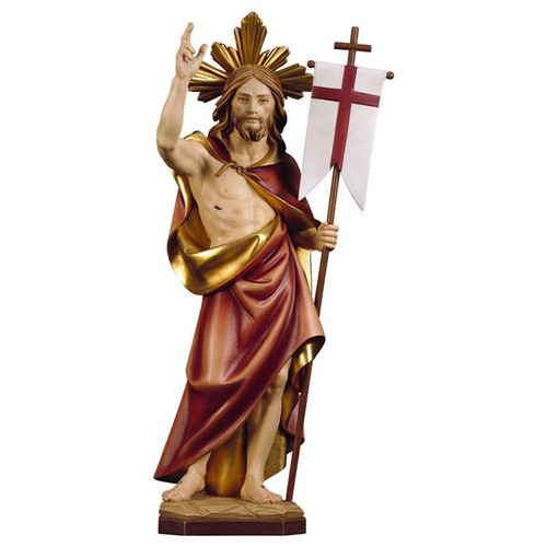 Resurrection of Jesus with Halo Statue | Hand Carved in Italy | Multiple Sizes