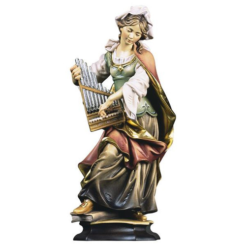 St. Cecilia of Rome with Organ Statue | Hand Carved in Italy | Multiple Sizes