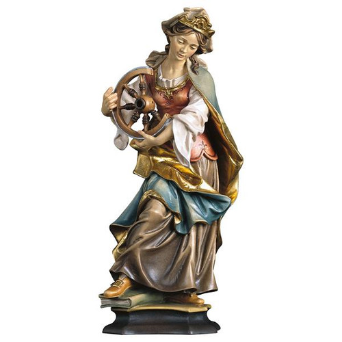 St. Catherine of Alexandria with Wheel Statue   Hand Carved in Italy   Multiple Sizes