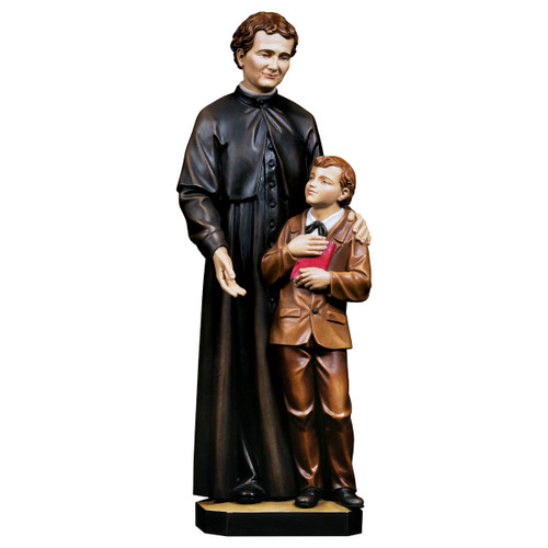 St. John Bosco with Dominic Savio Statue   Hand Carved In Italy   Multiple Sizes
