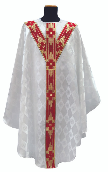 #419 Banded Chasuble | Plain Collar | 100% Polyester Damask | All Colors