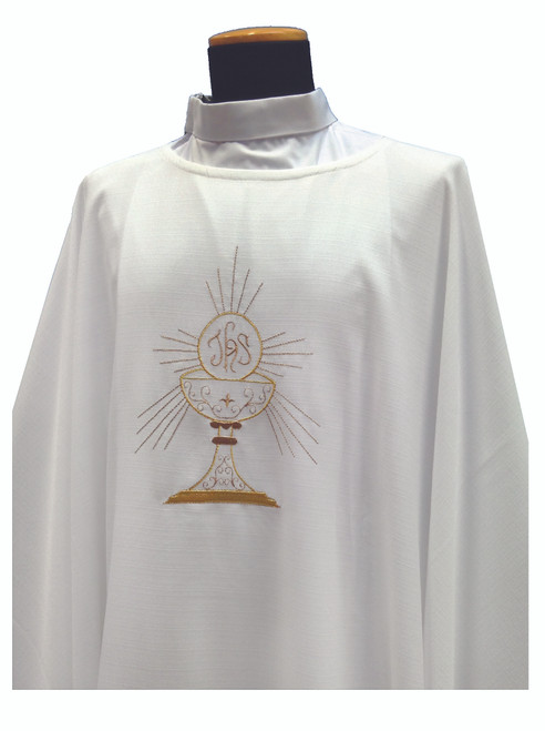 #333 Lightweight Embroidered Eucharist Chasuble   Plain Collar   100% Micro Poly   All Colors