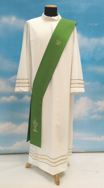 #333 Lightweight Embroidered Eucharist Deacon Stole | 100% Micro Poly | All Colors