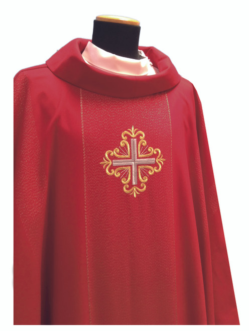 #335 Single Cross Chasuble   Roll Collar   Viscose/Wool   All Colors