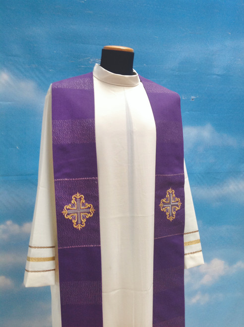 #335 Embroidered Cross Overlay Stole | Viscose/Wool | All Colors