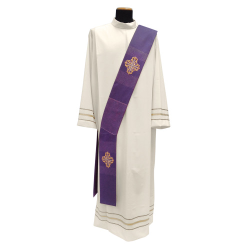 #335 Embroidered Cross Deacon Stole | Viscose/Wool | All Colors