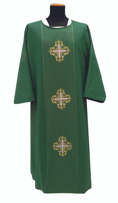 #336 Three Cross Embroidered Dalmatic | Roll Collar | Viscose/Wool | All Colors