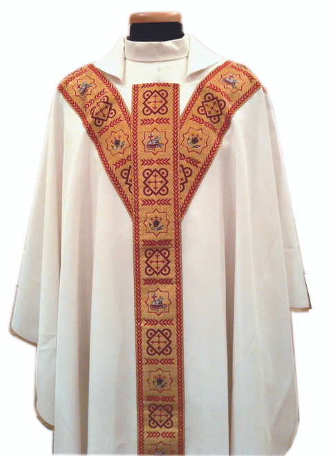 #486 Gold-Banded Chasuble | Square Collar | 100% Poly | All Colors