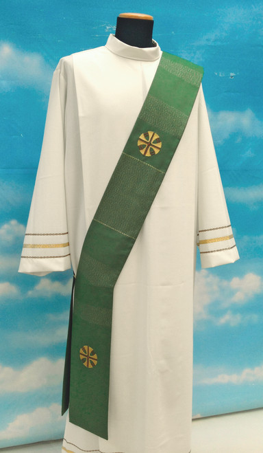 #509 Four Cross Embroidered Deacon Stole   Viscose/Wool   All Colors